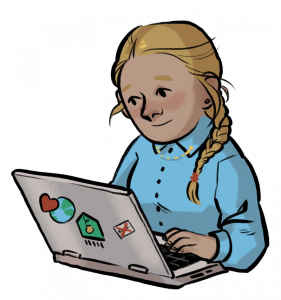 Nainen tietokoneella Duunihuoneella