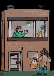 Naapuritukee nainen ikkunassa naapuri auttaa ostoksissa