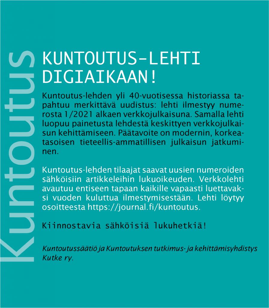 Kuntoutus-lehti digiaikaan! -mainos